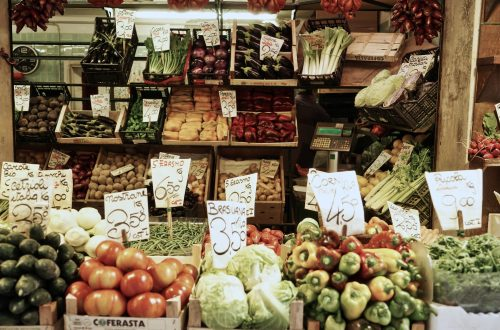 Food grocery stall selling vegetables and fruits